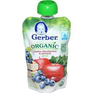 Детское пюре из яблок, черники, шпината, ( Organic Baby Food), Gerber, 99 г