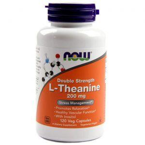 L-Теанин, L-Theanine, двойная сила, Now Foods, 200 мг, 120 к