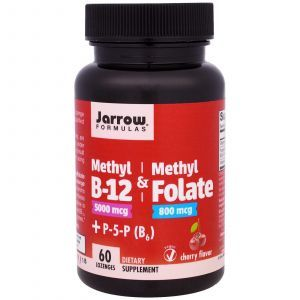 Метил B-12 и Метилфолат со вкусом вишни, Methyl B-12 & Methyl Folate, Jarrow Formulas, 60 леденцов