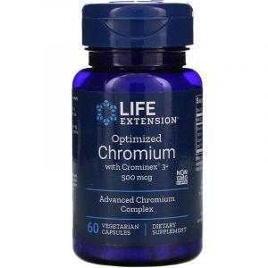 Хром, Chromium, Life Extension, оптимизированный, 500 мкг, 60 капсул