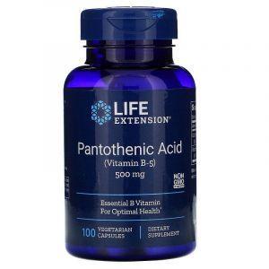Пантотеновая кислота (витамин В-5), (Pantothenic Acid), Life Extension, 500 мг, 100 капсул
