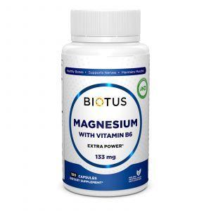 Магний и витамин В6, Magnesium with Vitamin B6, Biotus, экстра сильный, 100 капсул