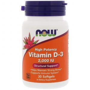 Витамин Д-3, Vitamin D-3 High Potency, Now Foods, 2,000 МЕ, 30 гелевых капсул