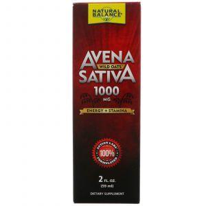 Овёс обыкновенный дикий, Avena Sativa, Wild Oats, Natural Balance, 1000 мг, 59 мл