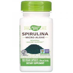 Спирулина, Spirulina, Nature's Way, микроводоросли, 760 мг, 100 капсул