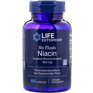 Ниацин (Витамин В3), No Flush Niacin, Life Extension, 800 мг, 100 капс
