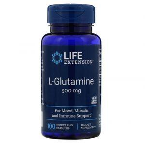 Глютамин, L-Glutamine, Life Extension, 500 мг, 100 капсул