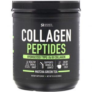 Коллагеновые пептиды, гидролизованный тип I и III, Collagen Peptides, Sports Research, зеленый чай матча, 288 г