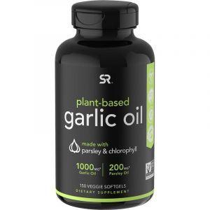 Чесночное масло с петрушкой и хлорофиллом, Plant-Based, Garlic Oil, Sports Research, 150 вегетарианских капсул