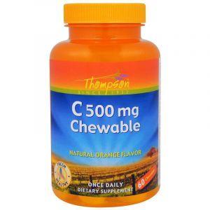 Витамин С, Vitamin C Chewable, Thompson, жевательный, апельсин, 500 мг, 60 таблеток