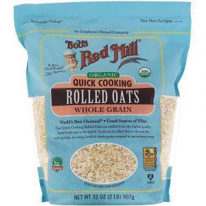 Овсяные хлопья быстрого приготовления, Quick Cooking Rolled Oats, Bob's Red Mill, цельнозерновые, органические, 907 г