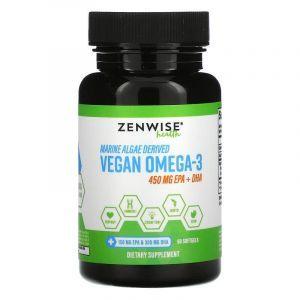 Омега-3 для веганов, Vegan Omega-3, Zenwise Health, с морских водорослей, 450 мг, 60 гелевых капсул