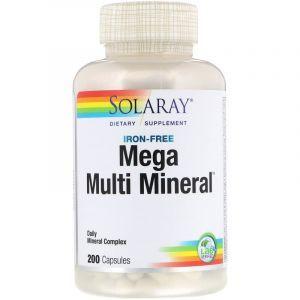 Мульти-минеральный комплекс без железа, Mega Multi Mineral, Solaray, 200 капсул