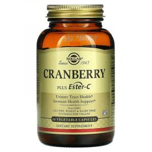 Клюква с витамином С, Cranberry Plus Ester-C, Solgar, 60 вегетарианских капсул