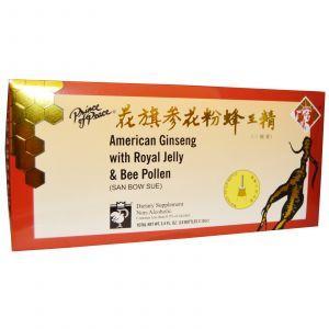 Женьшень с маточным молочком и пчелиной пыльцой, Ginseng with Royal Jelly & Bee Pollen, Prince of Peace, 10 бут.