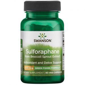 Сульфорафан, GreenFoods Sulforaphane, Swanson, 400 мкг, 60 вегетарианских капсул
