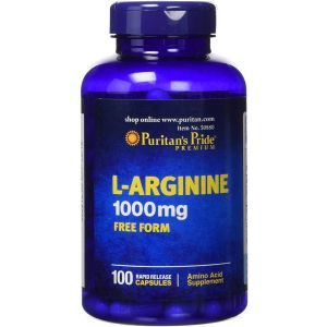 L-аргинин, L-Arginine, Puritans Pride, 1000 мг, 100 капсул