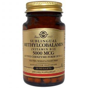 Витамин В12, (Methylcobalamin Vitamin B12)Solgar, 5000 мкг, 30 таблеток
