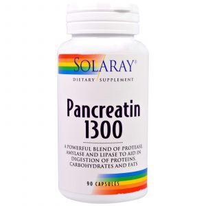Панкреатин, Pancreatin 1300, Solaray, 90 капсул