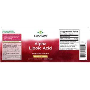 Альфа-липоевая кислота, Ultra  Alpha Lipoic Acid, Swanson, 300 мг, 120 капсул
