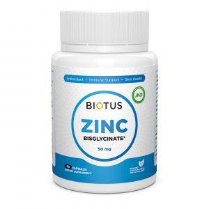 Цинк бисглицинат, Zinc Bisglycinate, Biotus, 50 мг, 60 капсул